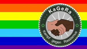 Ethnisch gefärbte Hände schütteln auf Regenbogenflagge