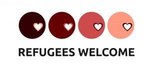 """versch. """"hautfabene"""" Kreise mit Herzen, und Schriftzug Refugees welcome"""